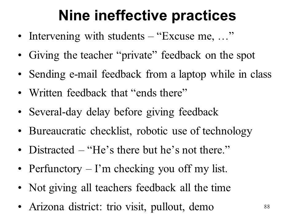 Nine ineffective practices