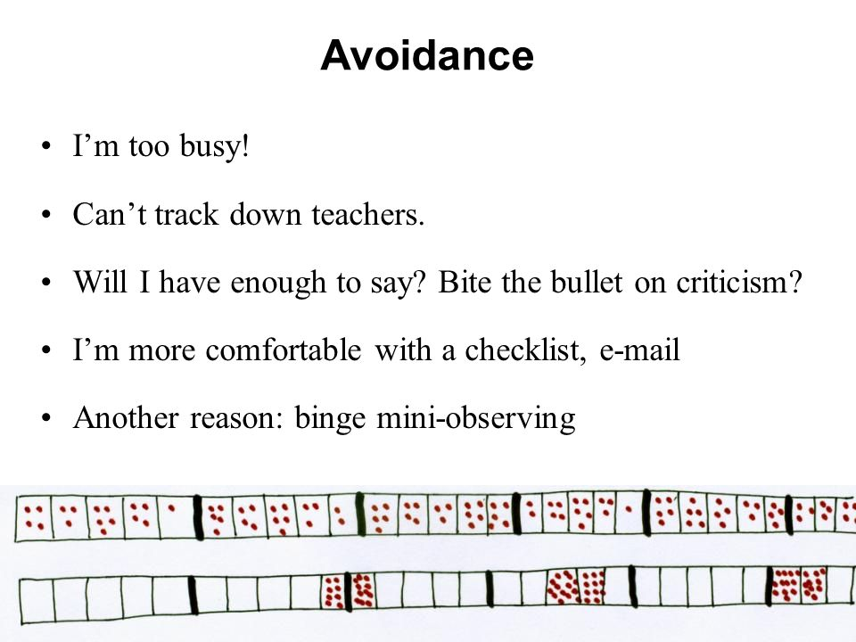 Avoidance I'm too busy! Can't track down teachers.