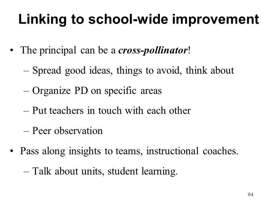 Linking to school-wide improvement