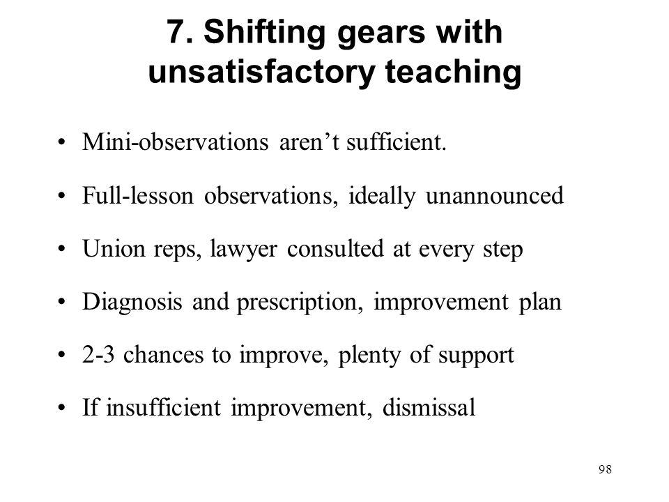7. Shifting gears with unsatisfactory teaching