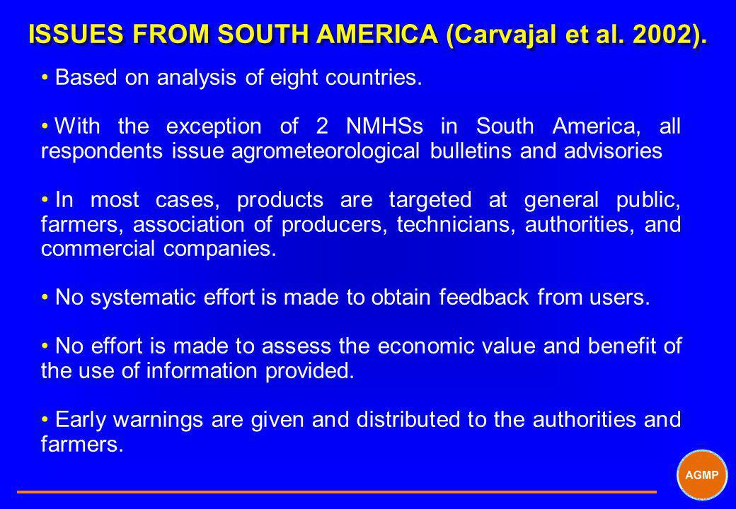 ISSUES FROM SOUTH AMERICA (Carvajal et al. 2002).