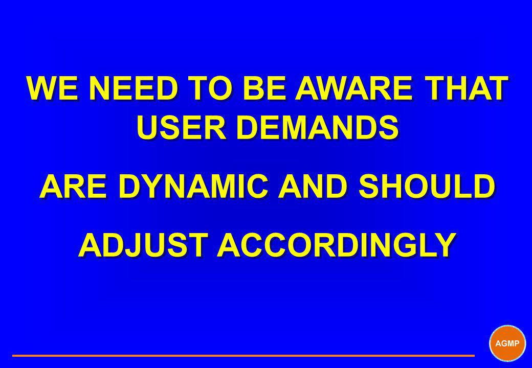 WE NEED TO BE AWARE THAT USER DEMANDS