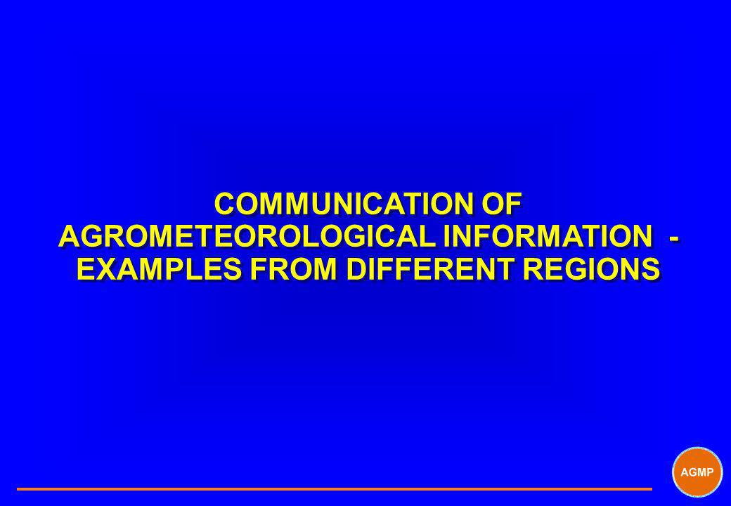 COMMUNICATION OF AGROMETEOROLOGICAL INFORMATION - EXAMPLES FROM DIFFERENT REGIONS