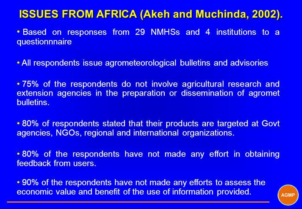 ISSUES FROM AFRICA (Akeh and Muchinda, 2002).