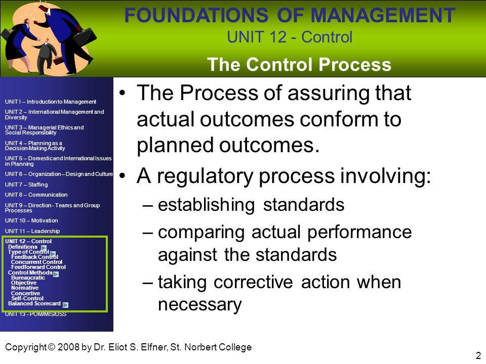A regulatory process involving: