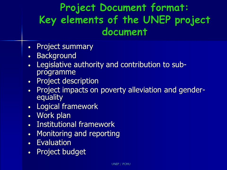Project Document format: Key elements of the UNEP project document