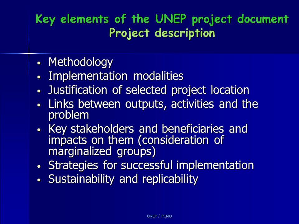 Key elements of the UNEP project document Project description
