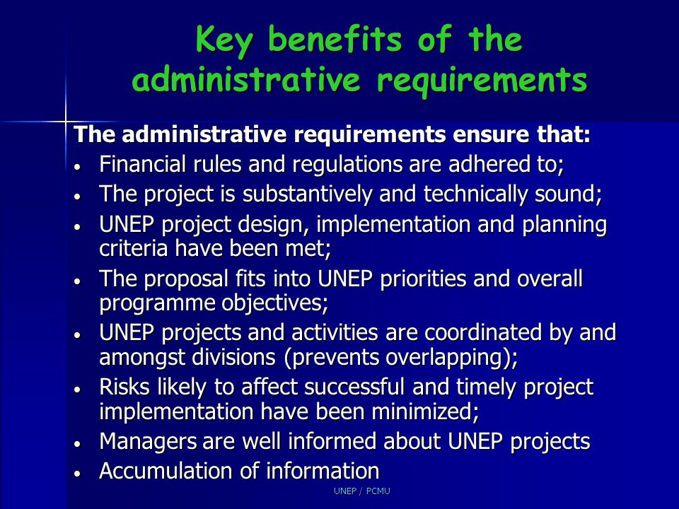 Key benefits of the administrative requirements