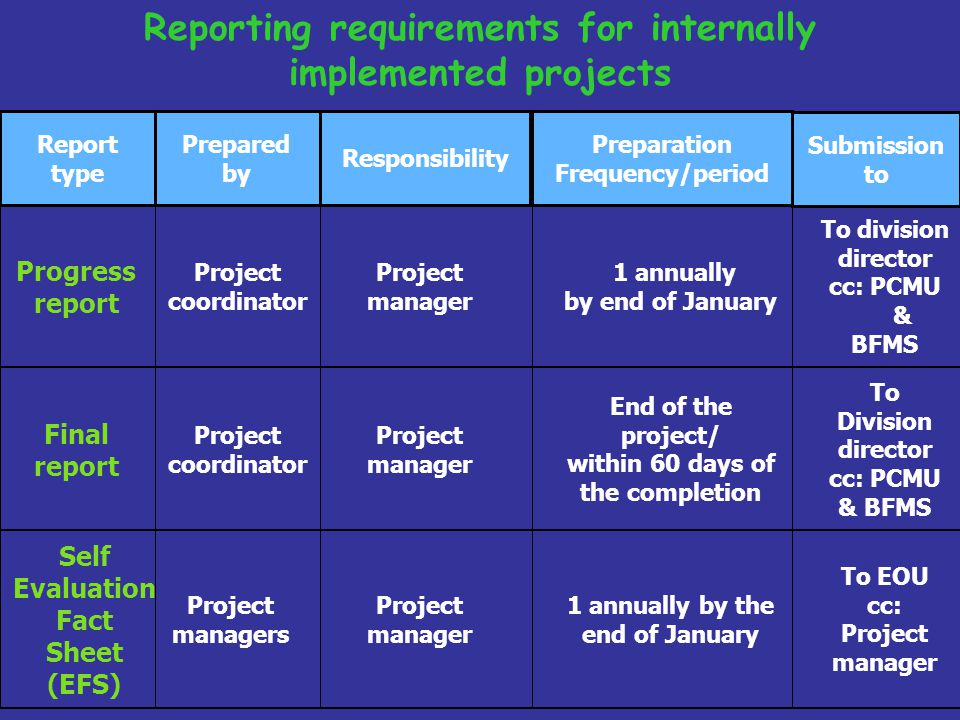 Reporting requirements for internally implemented projects