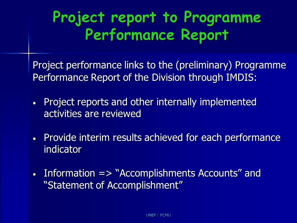 Project report to Programme Performance Report