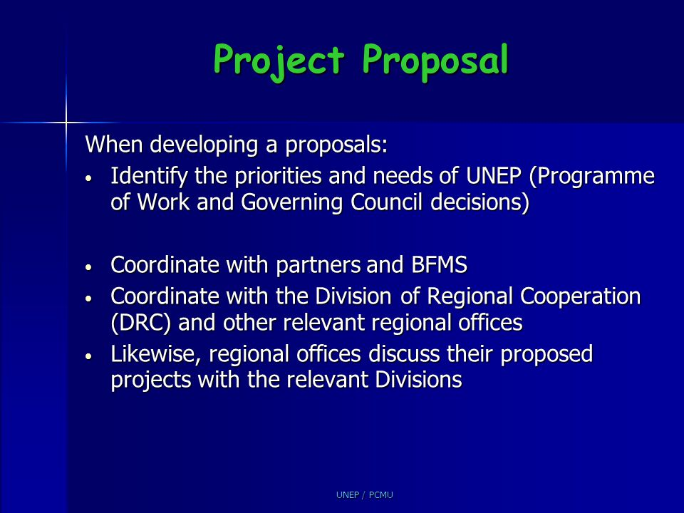 Project Proposal When developing a proposals: