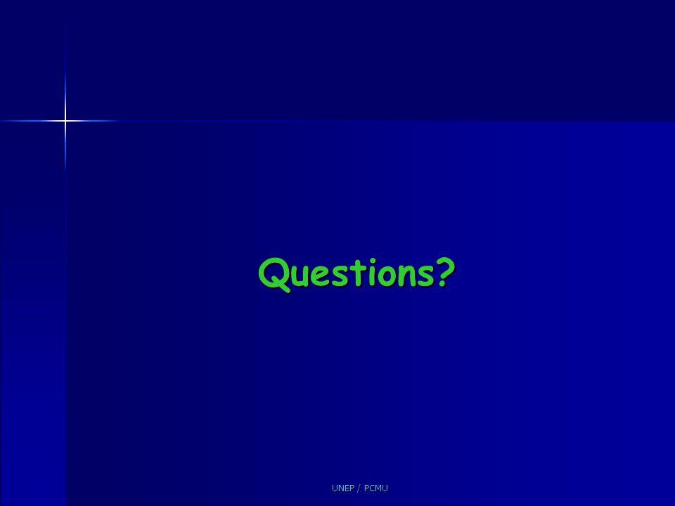 Questions UNEP / PCMU