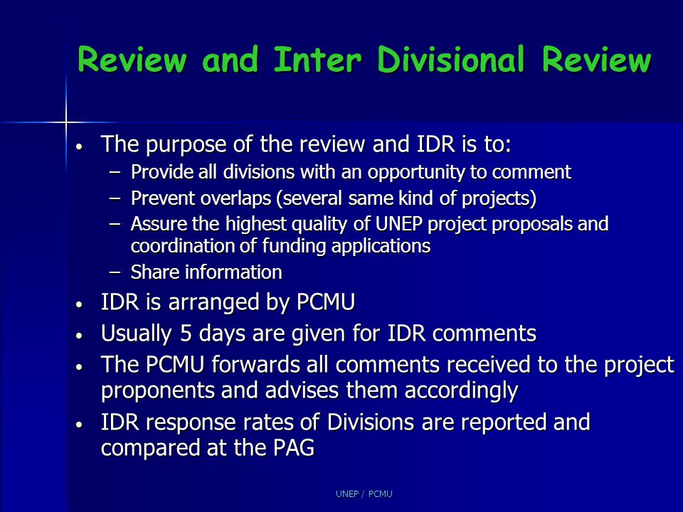 Review and Inter Divisional Review