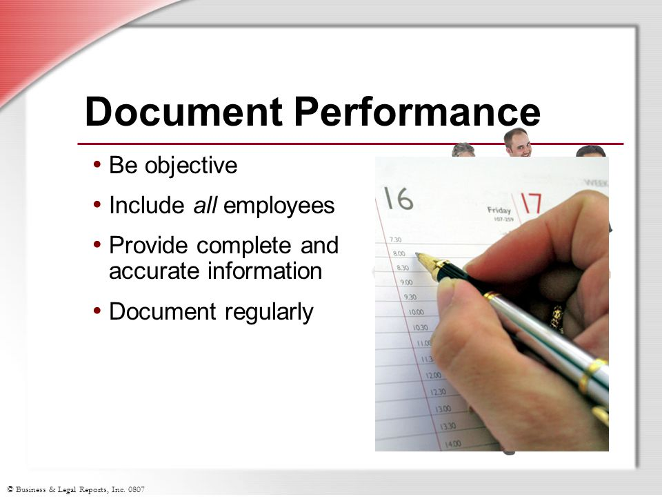 Document Performance Be objective Include all employees