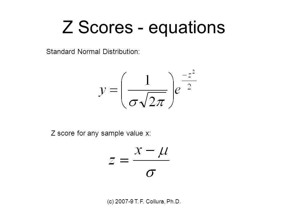 Z Scores - equations Standard Normal Distribution: