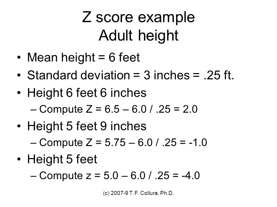 Z score example Adult height