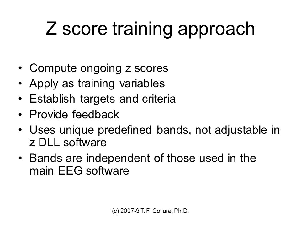 Z score training approach
