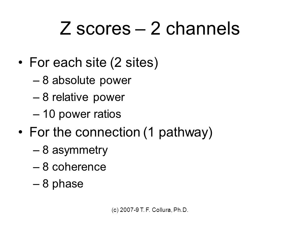 Z scores – 2 channels For each site (2 sites)
