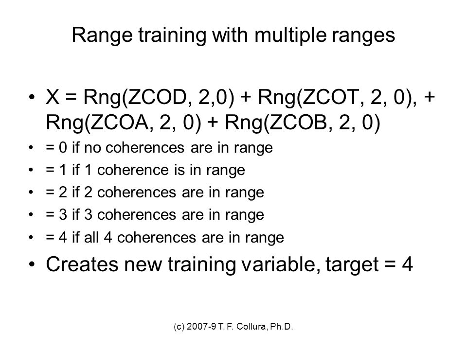 Range training with multiple ranges
