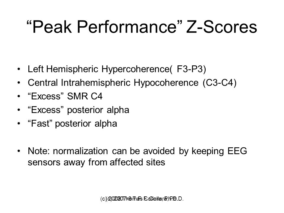 Peak Performance Z-Scores