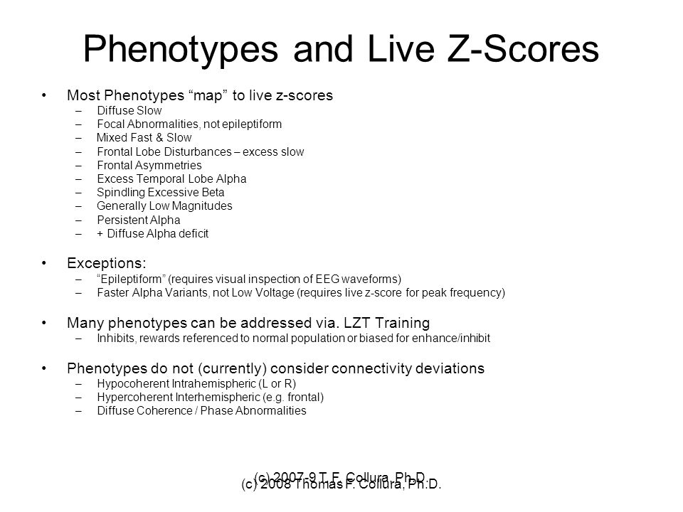 Phenotypes and Live Z-Scores