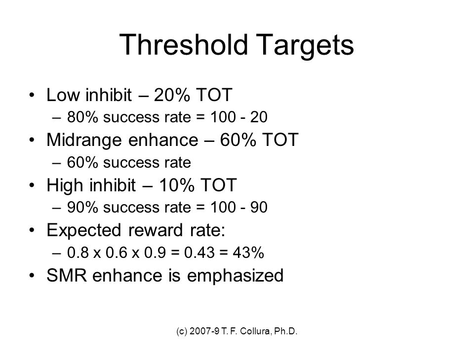 Threshold Targets Low inhibit – 20% TOT Midrange enhance – 60% TOT