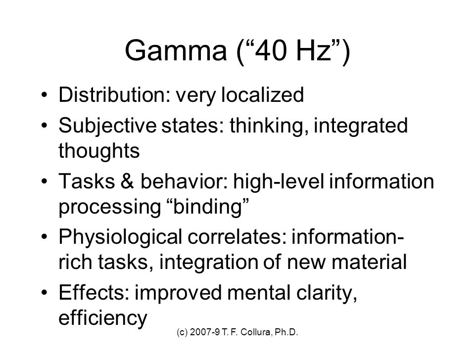 Gamma ( 40 Hz ) Distribution: very localized