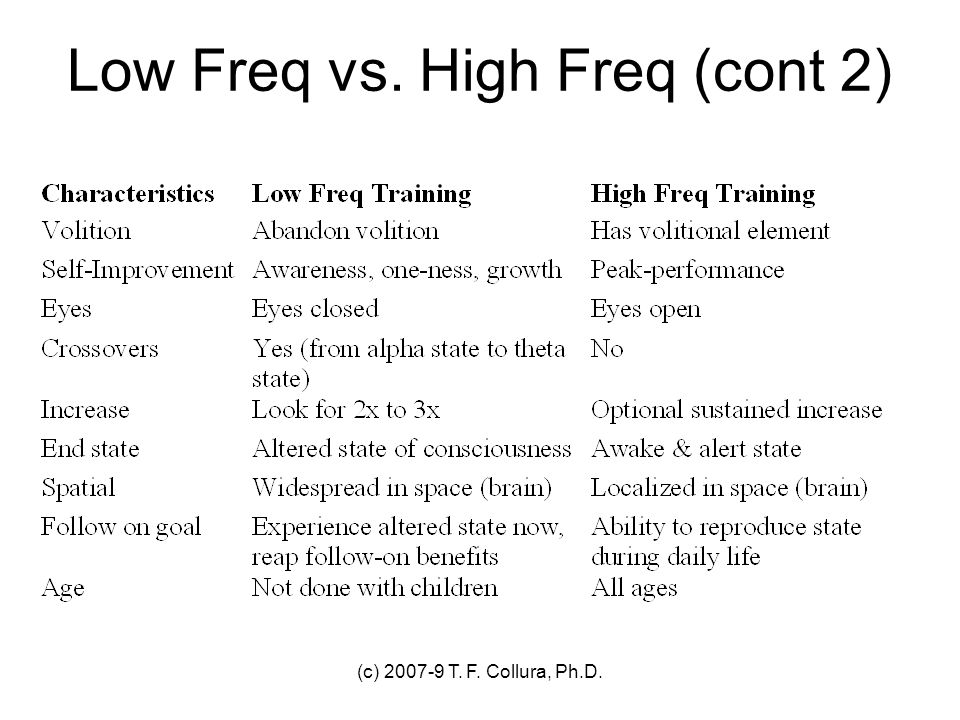 Low Freq vs. High Freq (cont 2)