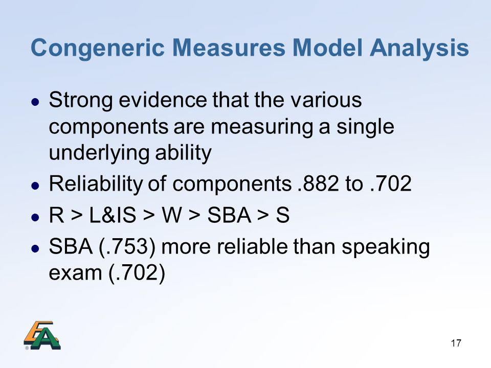 Congeneric Measures Model Analysis