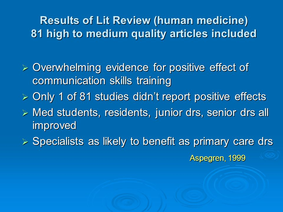 Results of Lit Review (human medicine) 81 high to medium quality articles included