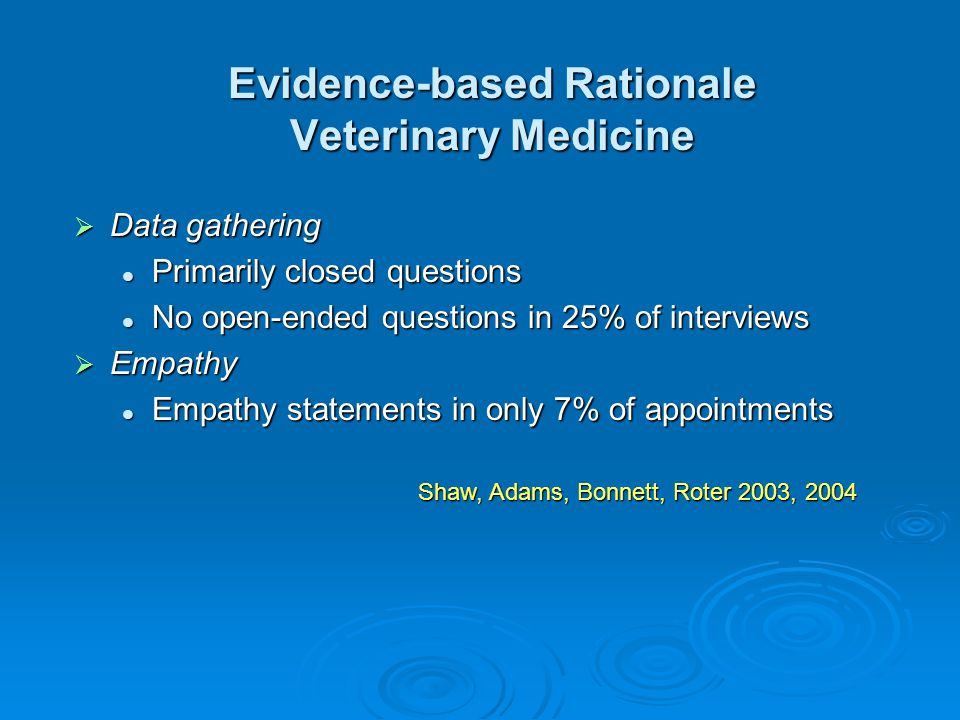 Evidence-based Rationale Veterinary Medicine