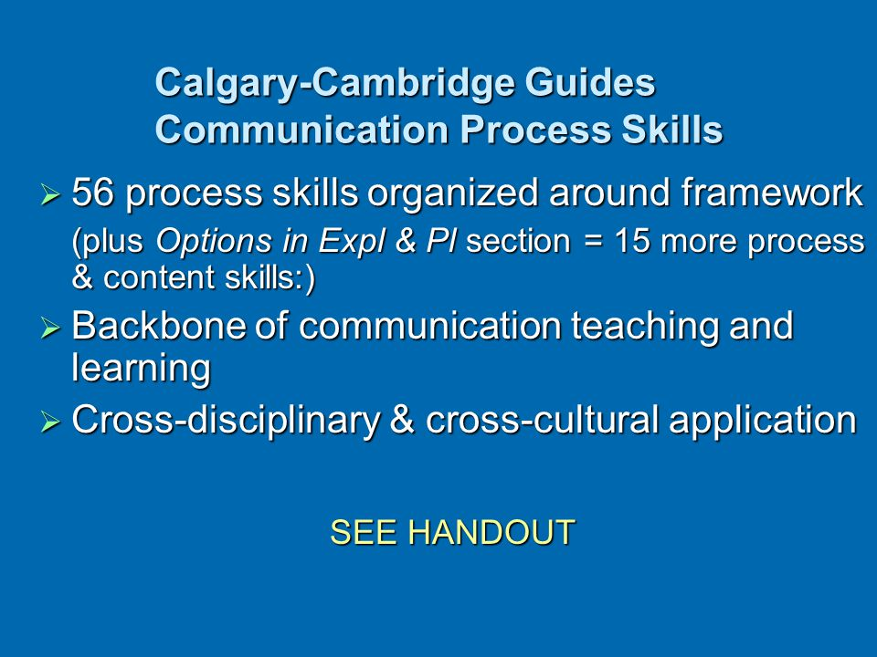 Calgary-Cambridge Guides Communication Process Skills