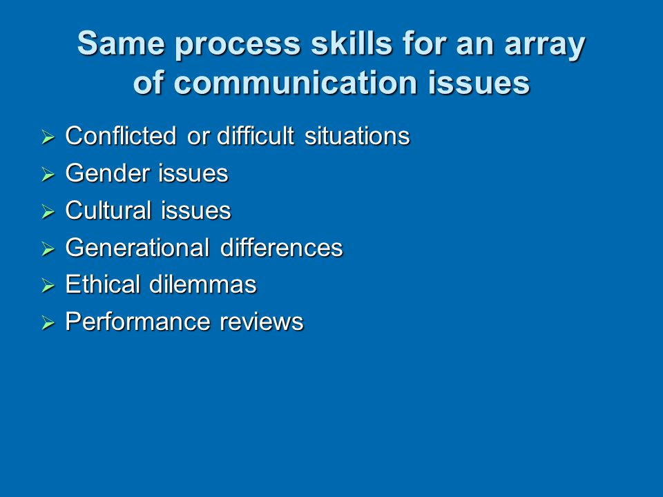 Same process skills for an array of communication issues