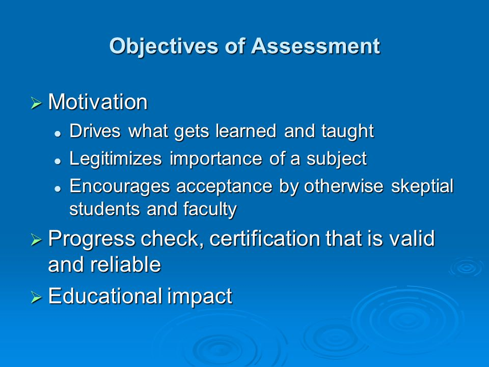 Objectives of Assessment