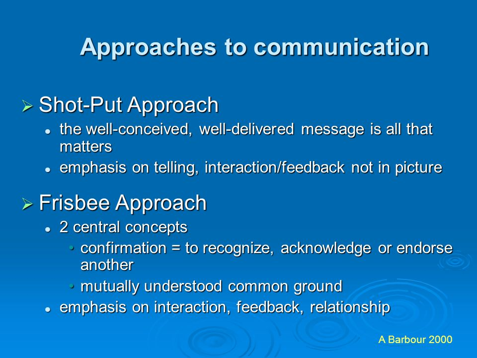 Approaches to communication