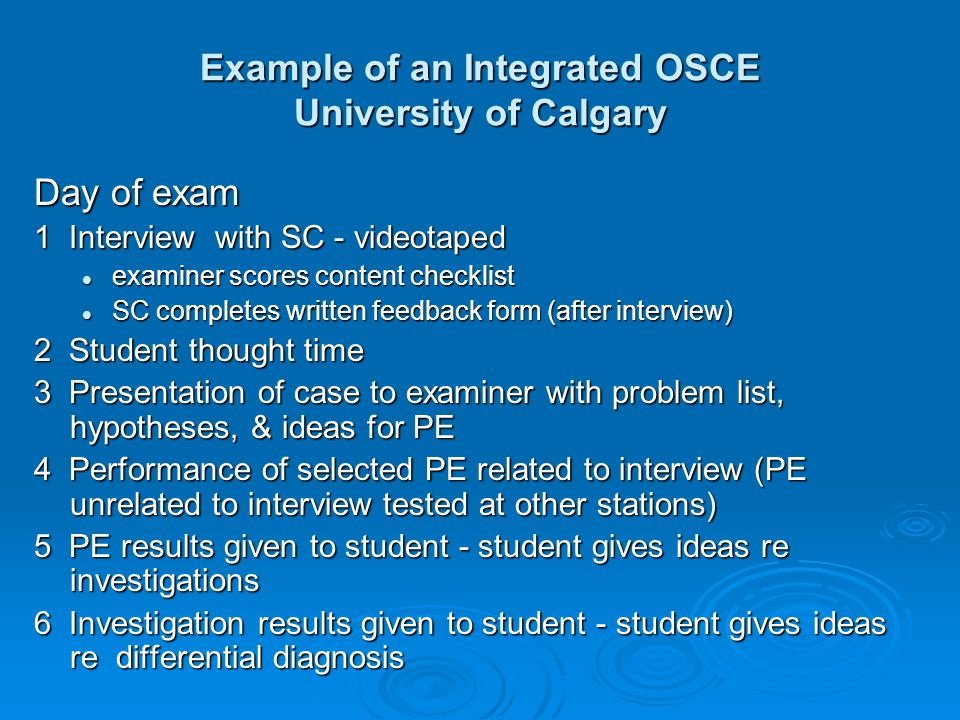 Example of an Integrated OSCE University of Calgary