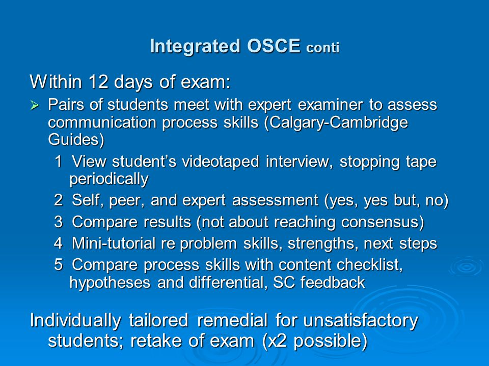 Integrated OSCE conti Within 12 days of exam: