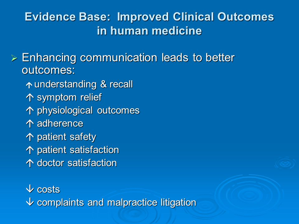 Evidence Base: Improved Clinical Outcomes in human medicine