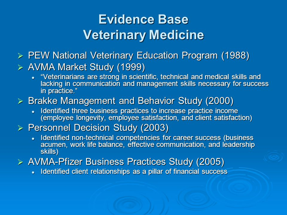 Evidence Base Veterinary Medicine