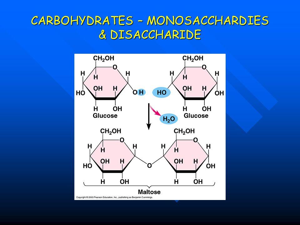 CARBOHYDRATES – MONOSACCHARDIES & DISACCHARIDE