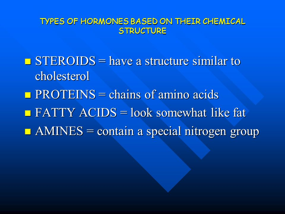 TYPES OF HORMONES BASED ON THEIR CHEMICAL STRUCTURE