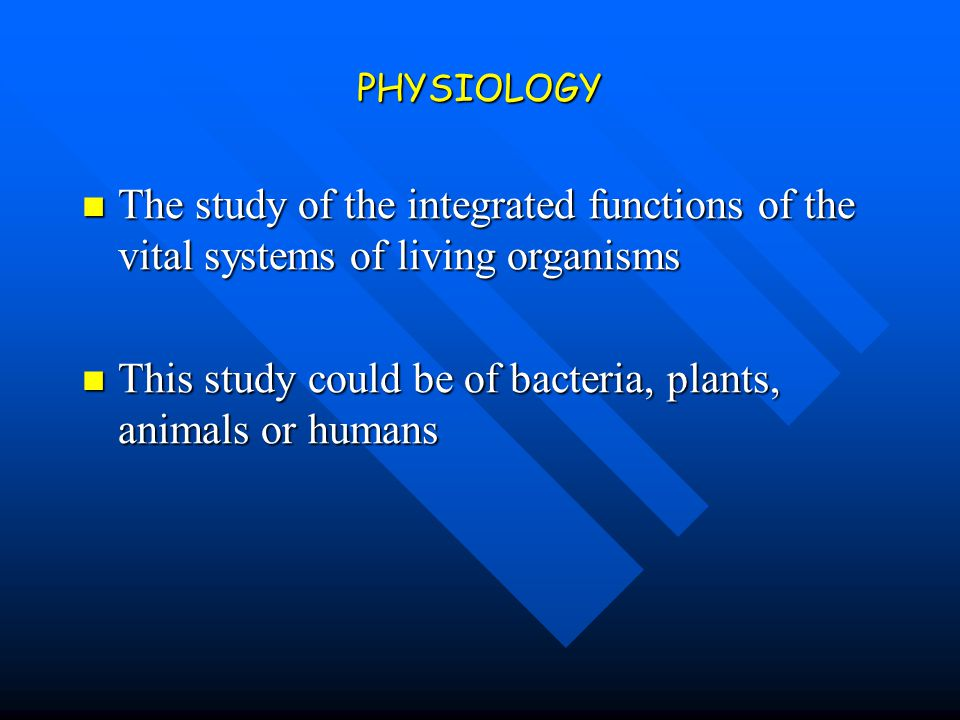 This study could be of bacteria, plants, animals or humans