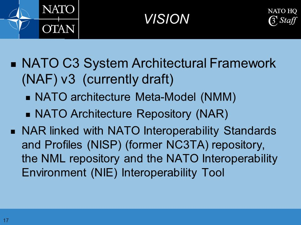 NATO C3 System Architectural Framework (NAF) v3 (currently draft)