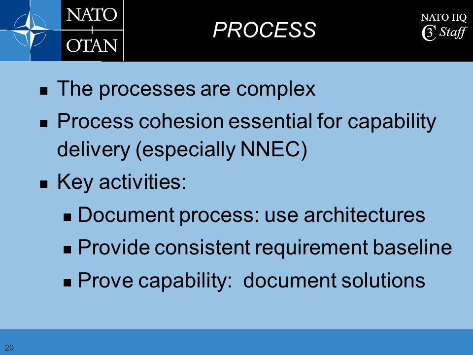 PROCESS The processes are complex. Process cohesion essential for capability delivery (especially NNEC)