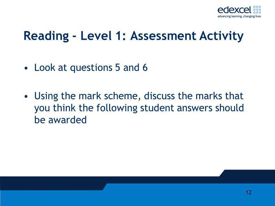 Reading - Level 1: Assessment Activity