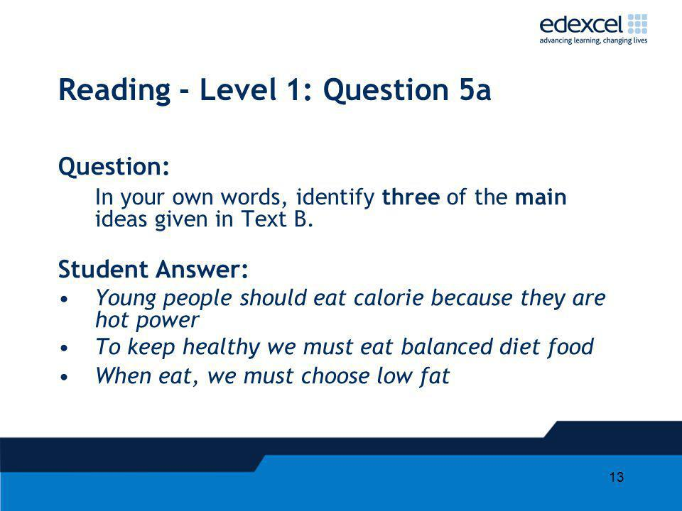Reading - Level 1: Question 5a