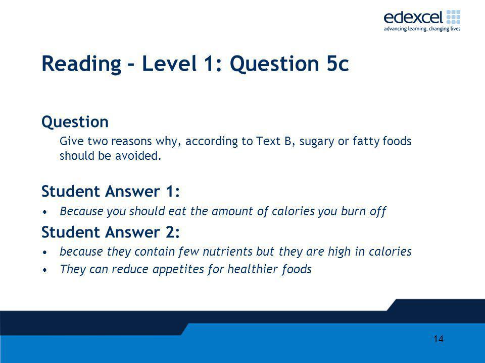 Reading - Level 1: Question 5c