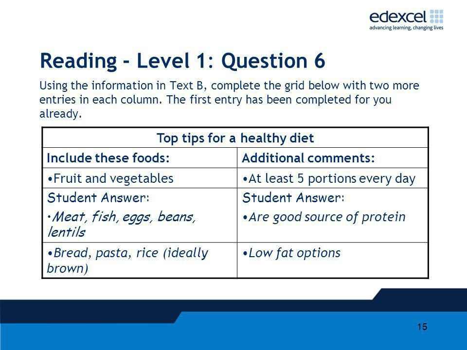 Reading - Level 1: Question 6