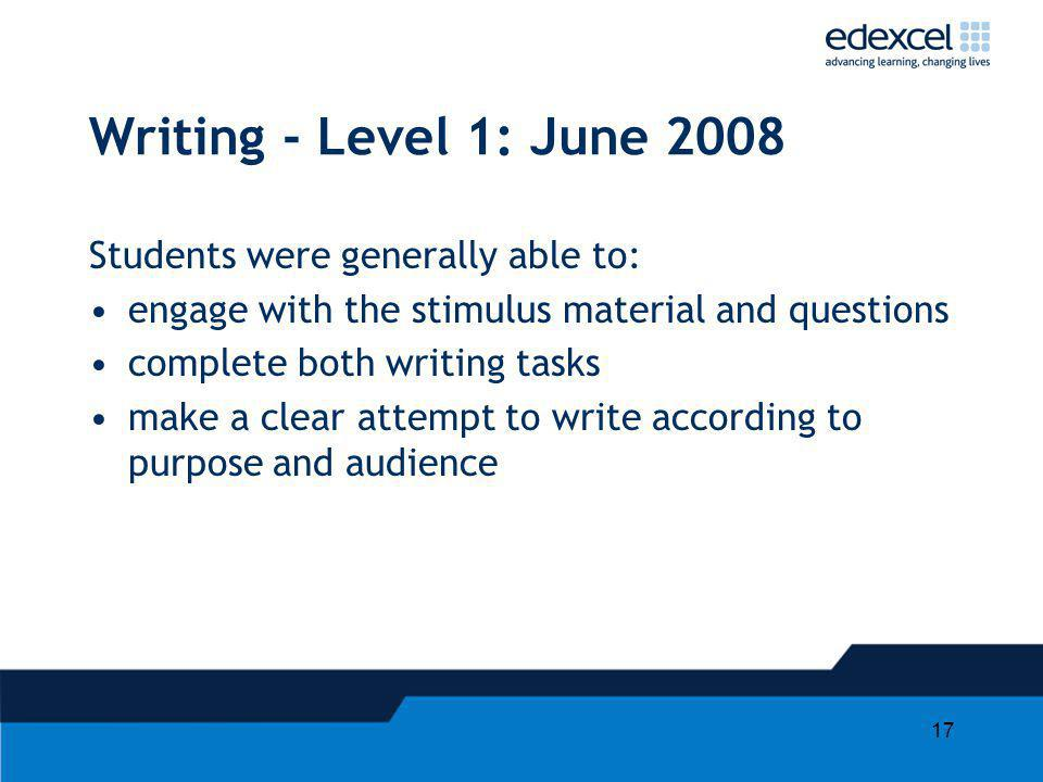 Writing - Level 1: June 2008 Students were generally able to:
