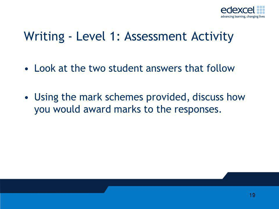 Writing - Level 1: Assessment Activity